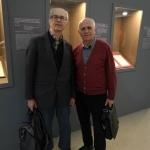 Сотрудники РГАЭ Б.Б. Лебедев и В.А. Комиссаров на выставке